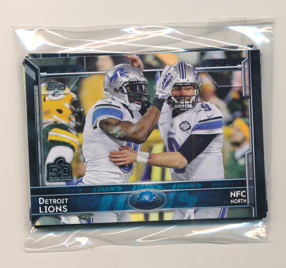 2015 Super Bowl 50 Stamp Detroit Lions Team Set