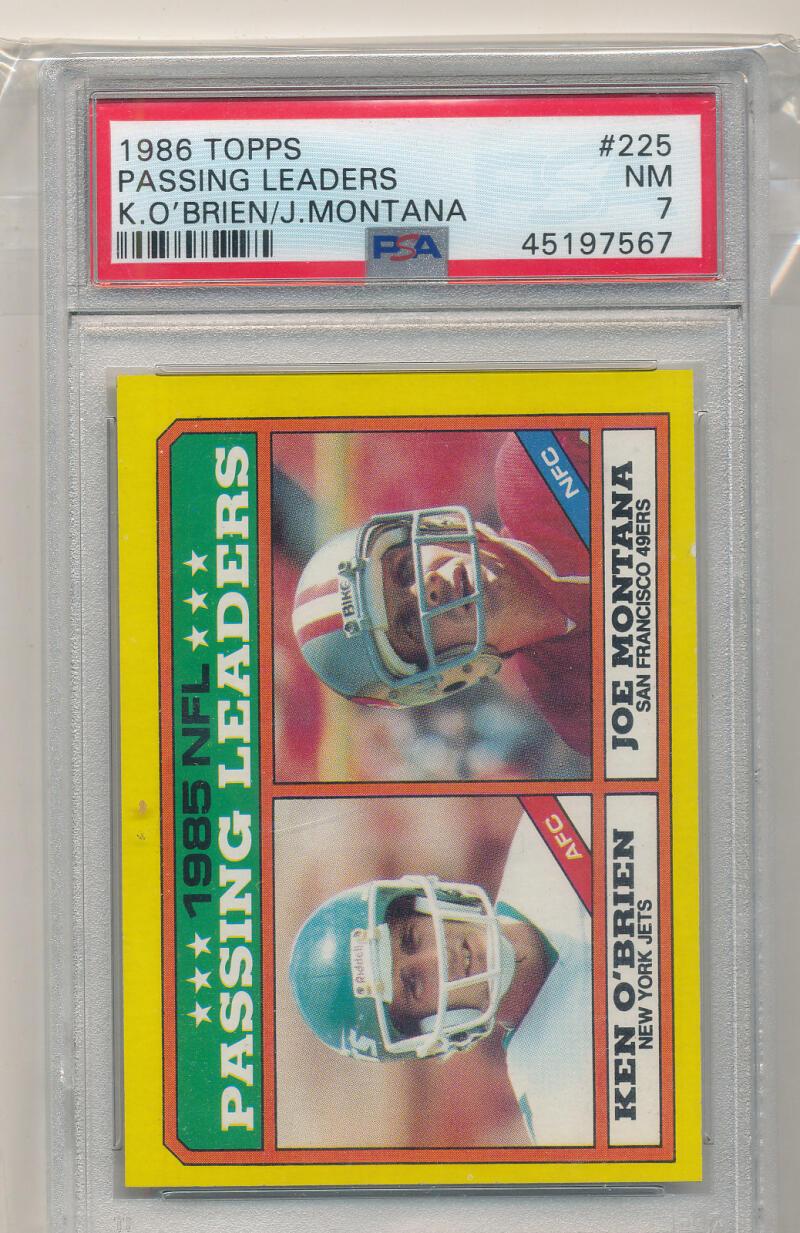 1986 Topps #225 Ken O'Brien/Joe Montana Passing Leaders LL PSA 7 NM New York Jets/San Francisco 49ers