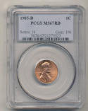 1985 D Memorial Lincoln Cent PCGS MS67 Red