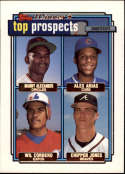 1992 Topps Gold Winners #551 Manny Alexander/Alex Arias/Wil Cordero/Chipper Jones UER COND Baltimore Orioles/Chicago Cub