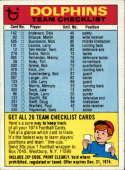 1974 Topps Team Checklists #14 Miami Dolphins Miami Dolphins