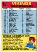 1974 Topps Team Checklists #15 Minnesota Vikings Minnesota Vikings
