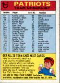 1974 Topps Team Checklists #16 New England Patriots New England Patriots