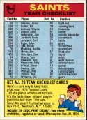1974 Topps Team Checklists #17 New Orleans Saints New Orleans Saints