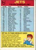 1974 Topps Team Checklists #19 New York Jets New York Jets