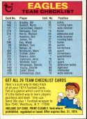 1974 Topps Team Checklists #21 Philadelphia Eagles Philadelphia Eagles