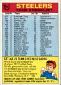 1974 Topps Team Checklists #22 Pittsburgh Steelers Pittsburgh Steelers