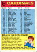 1974 Topps Team Checklists #23 St. Louis Cardinals St. Louis Cardinals
