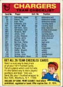 1974 Topps Team Checklists #24 San Diego Chargers San Diego Chargers