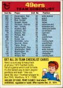 1974 Topps Team Checklists #25 San Francisco 49ers San Francisco 49ers
