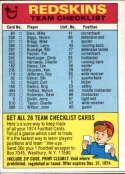 1974 Topps Team Checklists #26 Washington Redskins UER Washington Redskins